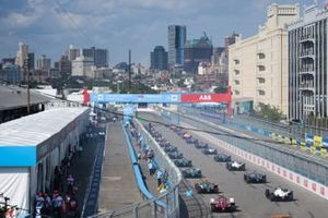 The cars line up on the grid ready for the start