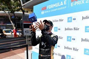 Antonio Felix Da Costa, DS Techeetah, throws the Julius Baer Pole Position Award in the air