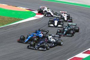 Yuki Tsunoda, AlphaTauri AT02, Fernando Alonso, Alpine A521, Lance Stroll, Aston Martin AMR21, Nicholas Latifi, Williams FW43B, Nikita Mazepin, Haas VF-21, and Mick Schumacher, Haas VF-21