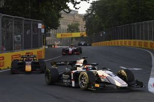 Christian Lundgaard, ART Grand Prix, leads Liam Lawson, Hitech Grand Prix, and Oscar Piastri, Prema Racing