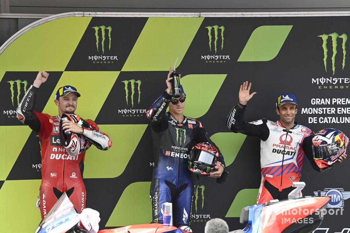 Ganador de la pole Fabio Quartararo, Yamaha Factory Racing, segundo Jack Miller, Ducati Team, tercero Johann Zarco, Pramac Racing