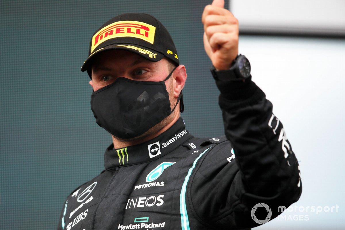 Podio: tercer lugar Valtteri Bottas, Mercedes