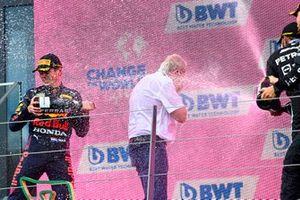 Max Verstappen, Red Bull Racing, Lewis Hamilton, Mercedes, en Helmut Marko, Consultant, Red Bull Racing