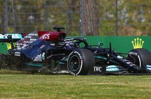 Lewis Hamilton, Mercedes W12, on the grass