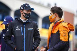 George Russell, Williams Racing, and Lando Norris, McLaren, oon the grid