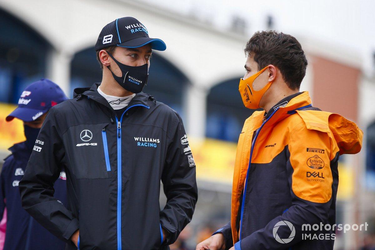 George Russell, Williams Racing, y Lando Norris, McLaren