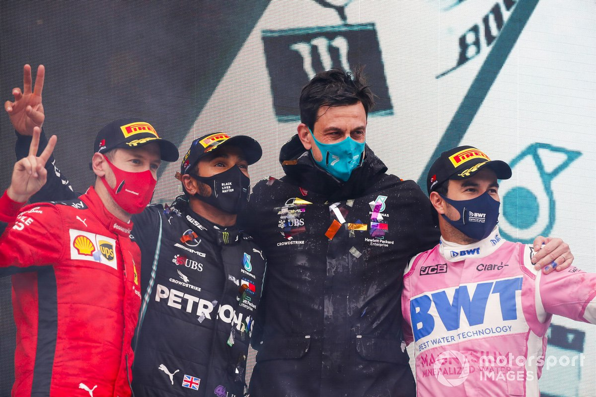 Sebastian Vettel, Ferrari, Race Winner Lewis Hamilton, Mercedes-AMG F1, Toto Wolff, Executive Director (Business), Mercedes AMG and Sergio Perez, Racing Point celebrate on the podium