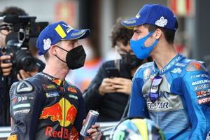 Race winner Joan Mir, Team Suzuki MotoGP, third place Pol Espargaro, Red Bull KTM Factory Racing