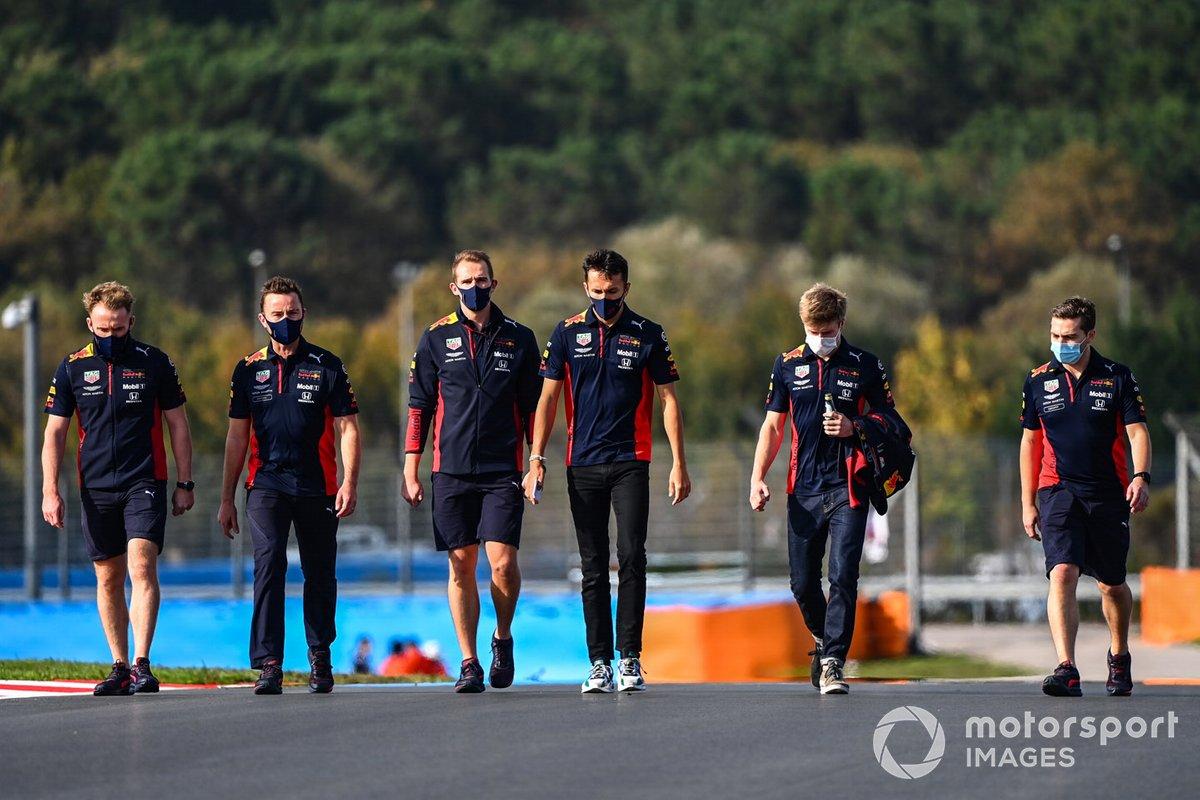 Alex Albon, Red Bull Racing walks the track