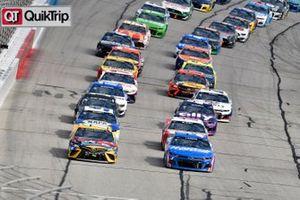 Kyle Busch, Joe Gibbs Racing, Toyota Camry M&M's Messages and Kyle Larson, Hendrick Motorsports, Chevrolet Camaro HendrickCars.com