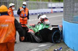 Rene Rast, Audi Sport ABT Schaeffler, Audi e-tron FE07, climbs out of his car after a crash