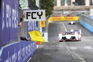 Pascal Wehrlein, TAG Heuer Porsche, Porsche 99X Electric, passes a full course yellow flag sign