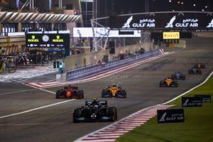 Valtteri Bottas, Mercedes W12, Charles Leclerc, Ferrari SF21, and Lando Norris, McLaren MCL35M