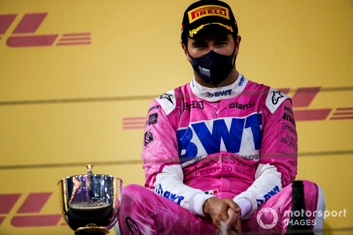Sergio Perez, Racing Point, 1°posto, sul podio