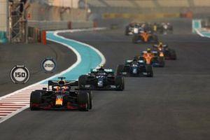 Max Verstappen, Red Bull Racing RB16, Valtteri Bottas, Mercedes F1 W11, Lewis Hamilton, Mercedes F1 W11, and Lando Norris, McLaren MCL35