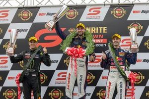 Race winner Shane van Gisbergen, Triple Eight Race Engineering, second place Cam Waters, Tickford Ford, third place Jamie Whincup, Triple Eight Race Engineering