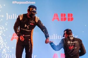 Jean-Eric Vergne, DS Techeetah, 3rd position, bumps fists with Robin Frijns, Envision Virgin Racing, 2nd position, on the podium