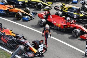 Max Verstappen, Red Bull Racing, 2nd position, and Charles Leclerc, Ferrari, 3rd position, in Parc Ferme
