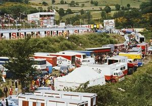 A general view of the Formula 1 paddock during practice