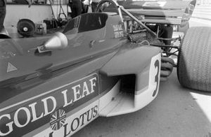 Sidepod detail bij Jochen Rindt, Lotus 72 Ford