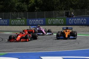 Charles Leclerc, Ferrari SF1000, leads Carlos Sainz Jr., McLaren MCL35, and Lance Stroll, Racing Point RP20