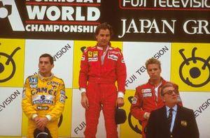 Gerhard Berger, Ferrari, Ayrton Senna, McLaren, Stefan Johansson, McLaren, Jean-Marie Balestre