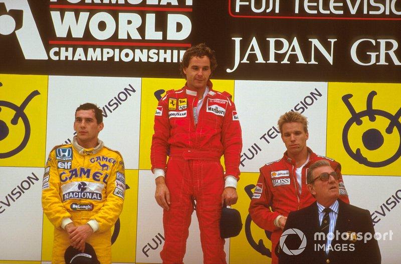 Gerhard Berger, Ferrari, Ayrton Senna, McLaren, Stefan Johansson, McLaren, Jean-Marie Balestre, GP del Giappone del 1987