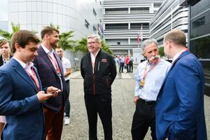 Sergey Vorobyev, Deputy General Director, Rosgonki, Alexey Titov, General Director, Rosgonki, Ross Brawn, Managing Director of Motorsports, FOM, and Chase Carey, Chairman, Formula 1