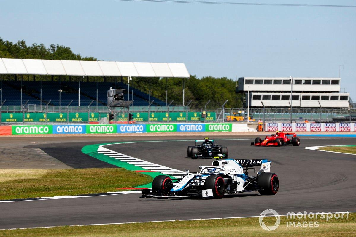 Nicholas Latifi, Williams FW43, Valtteri Bottas, Mercedes F1 W11, Charles Leclerc, Ferrari SF1000