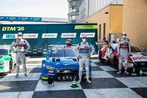 Top 3 after Qualifying, Poel sitter Robin Frijns, Audi Sport Team Abt Sportsline, Nico Müller, Audi Sport Team Abt Sportsline, René Rast, Audi Sport Team Rosberg