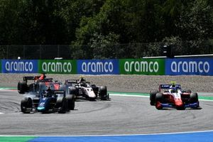 Dan Ticktum, Dams, leads Robert Shwartzman, Prema Racing, and Christian Lundgaard, ART Grand Prix
