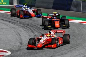 Mick Schumacher, Prema Racing, leads Felipe Drugovich, MP Motorsport, and Robert Shwartzman, Prema Racing