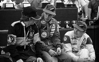 Podio: Tercer lugar Mike Thackwell, Equipo JPS, segundo lugar Stefan Johansson, Marlboro Theodore Racing Team, ganador de la carrera John Nielsen, Volkswagen Motorsport