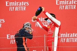 Race Winner Yuki Tsunoda, Carlin and Mick Schumacher, Prema Racing celebrate on the podium with the champagne