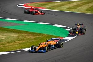 Lando Norris, McLaren MCL35, Alex Albon, Red Bull Racing RB16, and Charles Leclerc, Ferrari SF1000