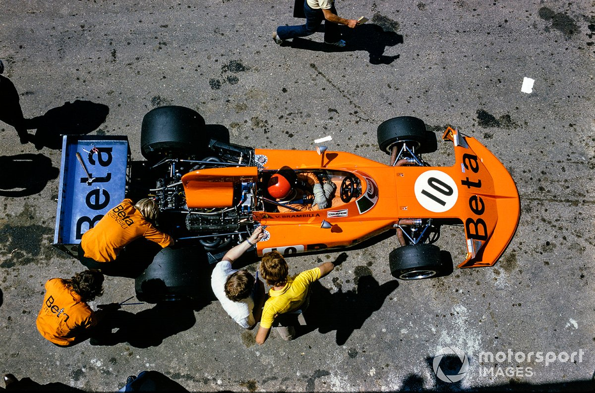 Vittorio Brambilla, March 741 Ford, in the pits