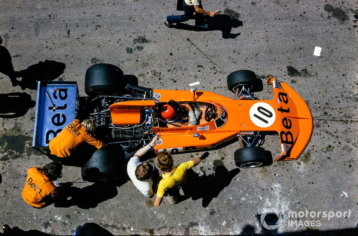 Vittorio Brambilla, March 741 Ford, in the pits