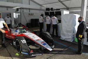 Felipe Massa, Venturi, EQ Silver Arrow 01 sits in the garage as Jean Todt, FIA President looks in