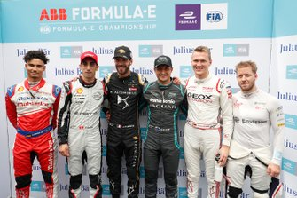 Pascal Wehrlein, Mahindra Racing, Sébastien Buemi, Nissan e.Dams, Jean-Eric Vergne, DS TECHEETAH, Mitch Evans, Panasonic Jaguar Racing, Maximilian Gunther, Dragon Racing, Sam Bird, Envision Virgin Racing dopo la super pole
