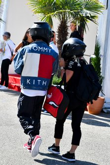 Lewis Hamilton, Mercedes AMG F1 arrives with Angela Cullen