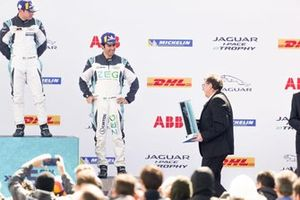 Sérgio Jimenez, Jaguar Brazil Racing, 3rd position, prepares to receive his trophy on the podium alongside Bryan Sellers, Rahal Letterman Lanigan Racing, 1st position