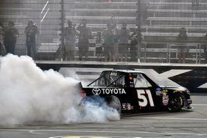 Greg Biffle, Kyle Busch Motorsports, Toyota Tundra Toyota celebrates his win