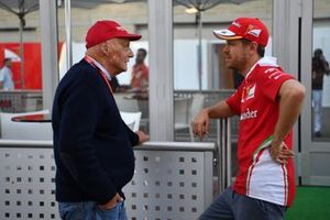 Niki Lauda, Mercedes AMG F1 Non-Executive Chairman and Sebastian Vettel, Ferrari