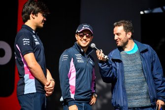 Lance Stroll, Racing Point and Sergio Perez, Racing Point on stage at the Fan Zone