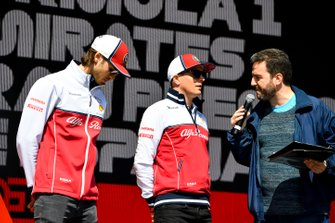 Antonio Giovinazzi, Alfa Romeo Racing and Kimi Raikkonen, Alfa Romeo Racing on stage at the Fan Zone