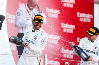 Lewis Hamilton, Mercedes AMG F1, 1st position, celebrates with Champagne on the podium