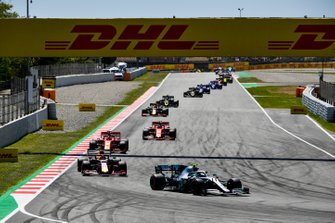 Valtteri Bottas, Mercedes AMG W10, leads Max Verstappen, Red Bull Racing RB15, Sebastian Vettel, Ferrari SF90, Charles Leclerc, Ferrari SF90,Pierre Gasly, Red Bull Racing RB15, and Romain Grosjean, Haas F1 Team VF-19