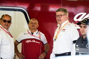 Ross Brawn, Managing Director of Motorsports, FOM, in the Alfa Romeo garage