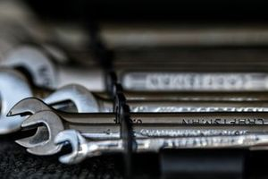 Close up detail of Craftsman wrenches (spanners)