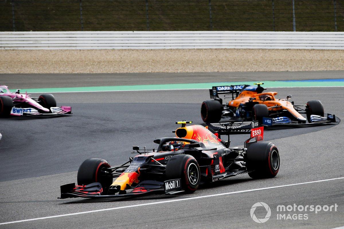Alex Albon, Red Bull Racing RB16, Lando Norris, McLaren MCL35, Sergio Pérez, Racing Point RP20